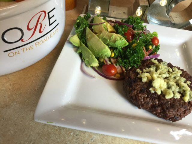 Gorgonzola Burger with Kale Tomato Corn Salad